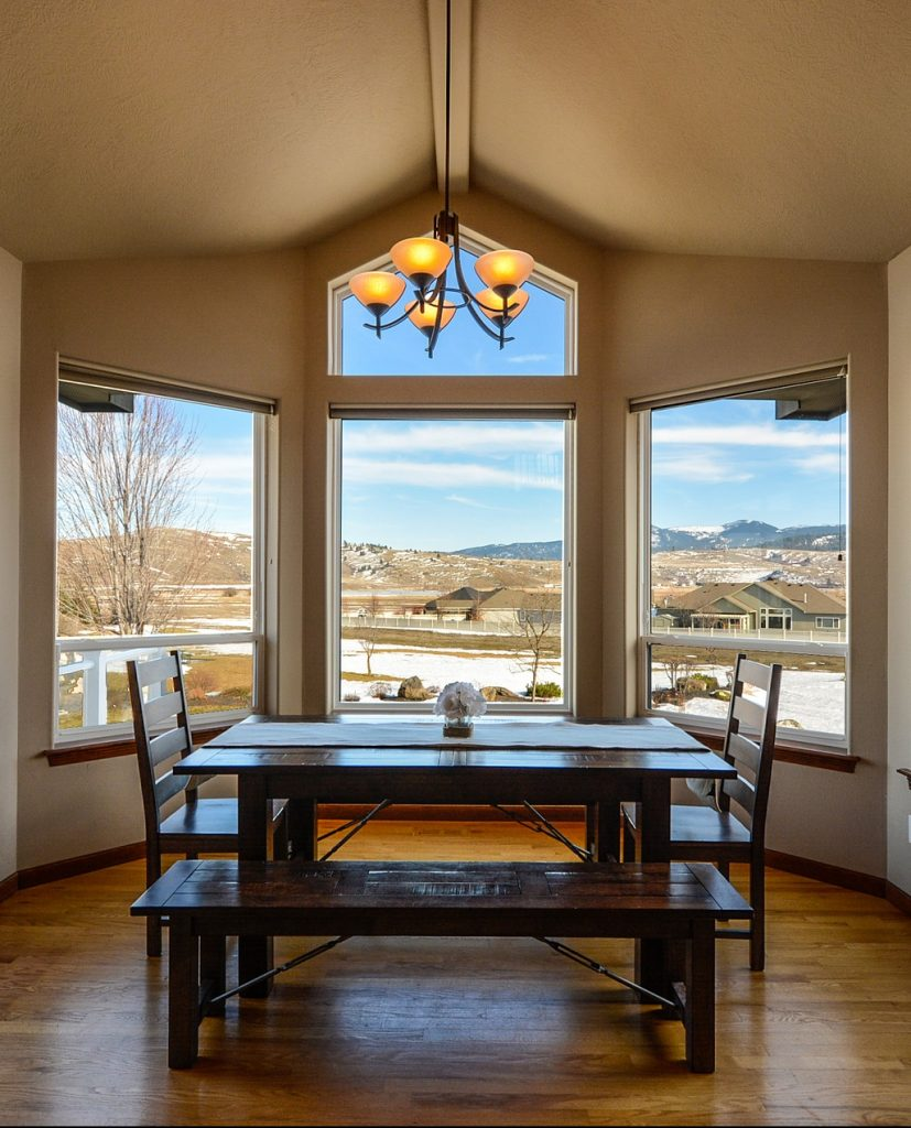 A beautiful custom dining room with a stunning view.