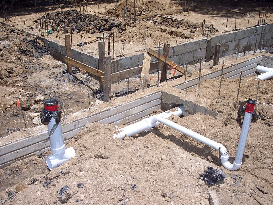 Water connections in foundations.