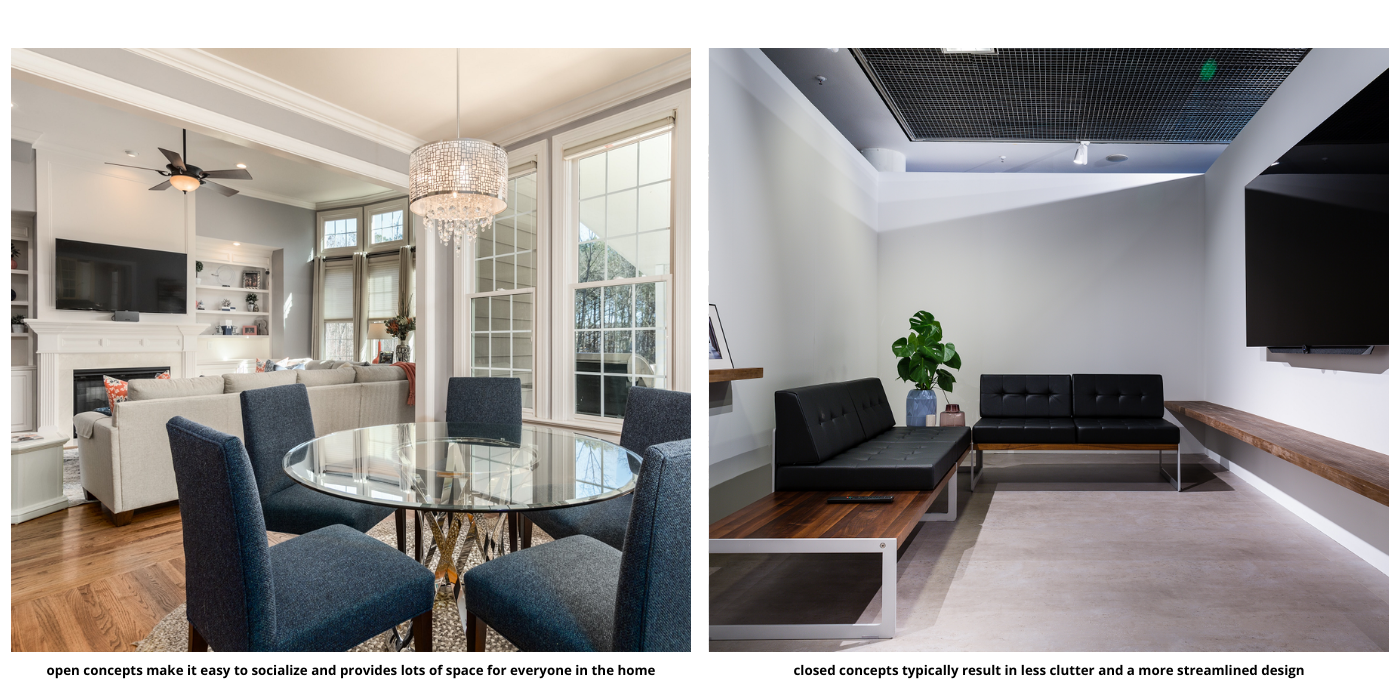 comparison of a closed and open concept living room and dinning room